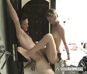 Young couple get naughty by the window