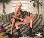 Busty blonde lesbian toy session