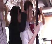 Asian schoolgirl fucks in the bus