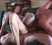 Two oldies bang amateur lady so hard she screams