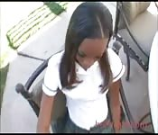 Ebony schoolgirl fucks teacher
