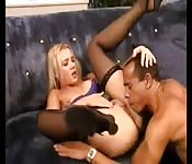 Beautiful cock riding and pussy lick on couch
