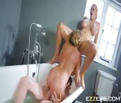 Busty blonde milfs invites young boy to come shower