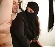 Arab woman dressed with burqa gets fucked