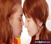 Hot lesbian redheads lick trimmed cunts