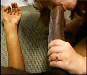 Two hot white chicks fuck one huge black cock
