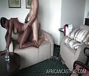 Horny black babe likes white guys
