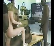 Four big black guys paid to hard fuck white chick