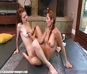 Beautiful girls eat each other well