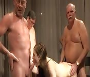 Girl getting fucked by five old men