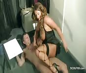 Stunning brunette babe fucked in the office