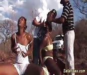Safari du sexe africain se transforme en plan à trois