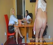 Horny girl masturbates in front of two older women