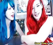 Red and Blue Haired Emo Babe Sucking