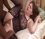 Big natural tits fucks a black guy