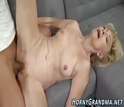 Horny grandma gets humped by a young stud