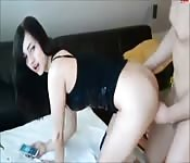 Hot brunette slut get banged while on call