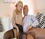 Naughty blonde seduces an old man