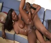Ebony whore with nice big tits gets fucked deep