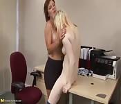 Horny blonde lesbian sex fun