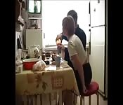 Russian Dad fucks his daughter during breakfast