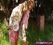 two beautiful blonde lesbians scissoring