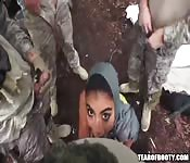 Arab girl gives soldiers blowjob