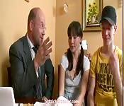 Threesome with her teacher and her boyfriend
