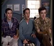 Three guys watching porn