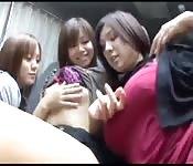 Lesbian Japanese threesome