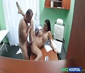 Big tit brunette fucked deep in doctor's office