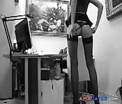 Secretary slut in bend over fuck
