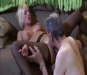 Young blonde slut blows and bangs old an old man