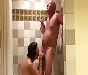 Mature man and wife enjoy fun sex in the bathroom