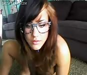 Sexy emo girl with hipster glasses