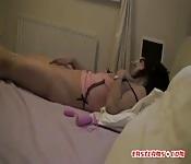 Sexy Asian masturbates hairy pussy on bed