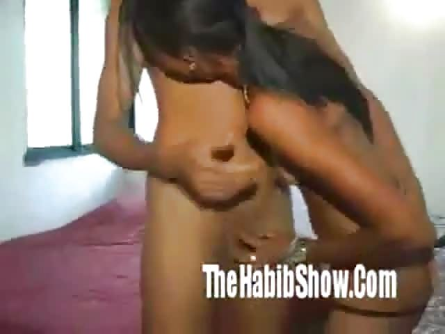 Lesbian gives man a handjob