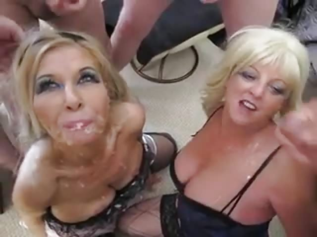 Mature women covered in cum