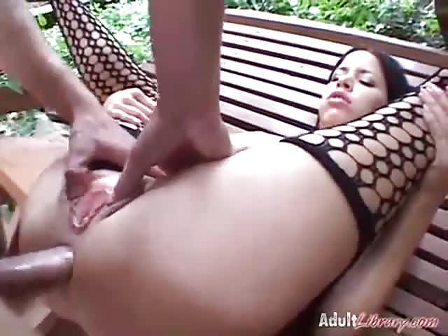 Hot tan brunette fucking