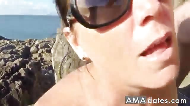 Brilliant mature blowjob on beach